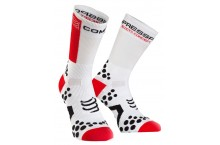 Chaussettes de compression COMPRESSPORT  Pro Racing BIKE Blanche/rouge