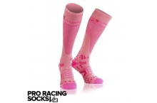 Chaussettes de compression COMPRESSPORT  V2.1 FULL 3D DOT Rose